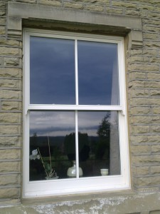 traditional timber sash window in yorkshire cottage
